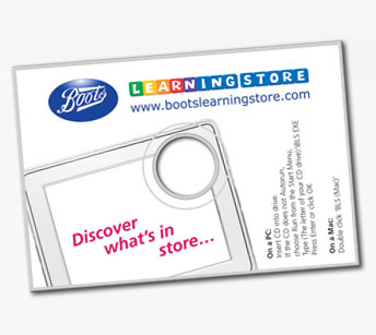 Boots CD-rom card with flash content