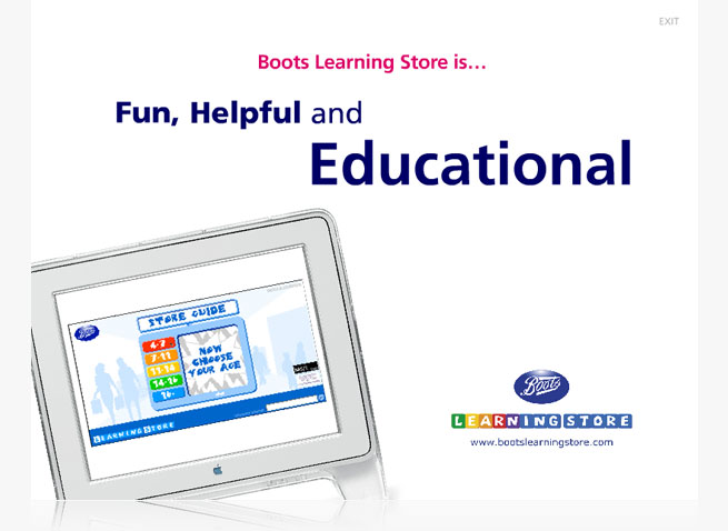 Boots Learning Store CD-ROM Flash screen 3 presentation