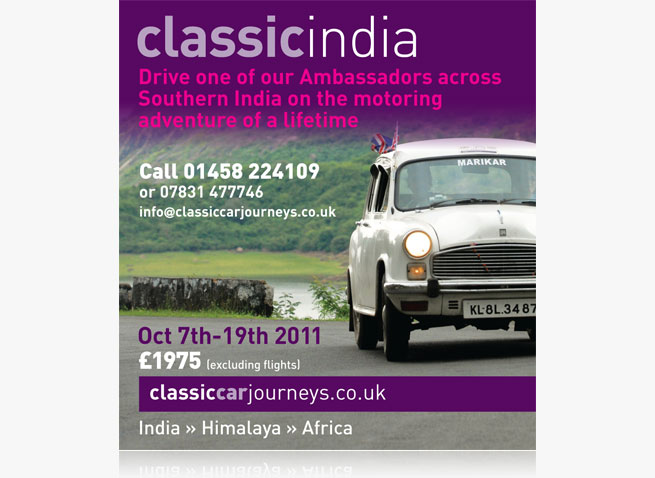 Classic car journeys ad national press Mail on Sunday supplement advertising