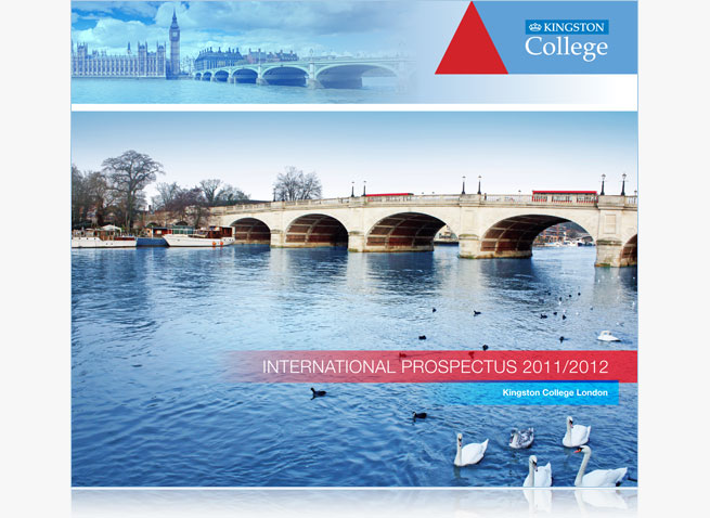 Kingston College international prospectus course guide London Kingston upon Thames design print