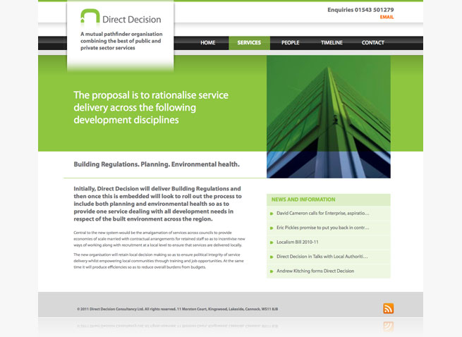 Direct Decision website branding and marketing material