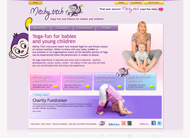 Mitchy Titch baby yoga website logo branding Cannock Staffordshire