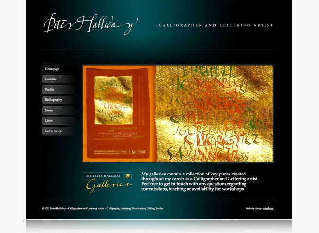 Peter Halliday calligrapher and lettering artist website and portfolio