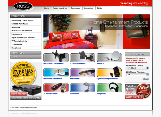ROSS website audio visual Telford Nexus Industries interactive design
